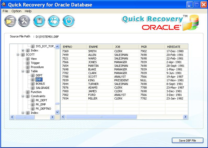Quick Recovery for Oracle Database screenshot