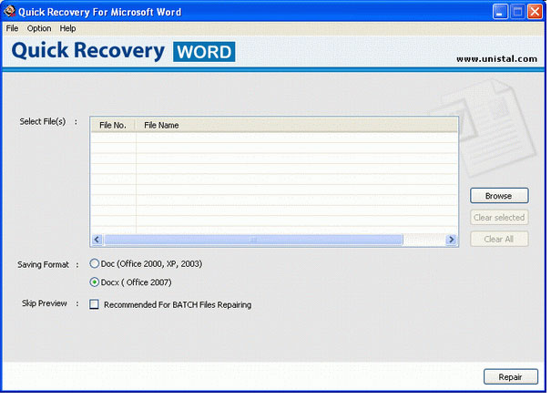 Restore Word files with MS Word Data Recovery
